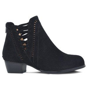 NEW Women's Woven Suede Ankle Boots Black